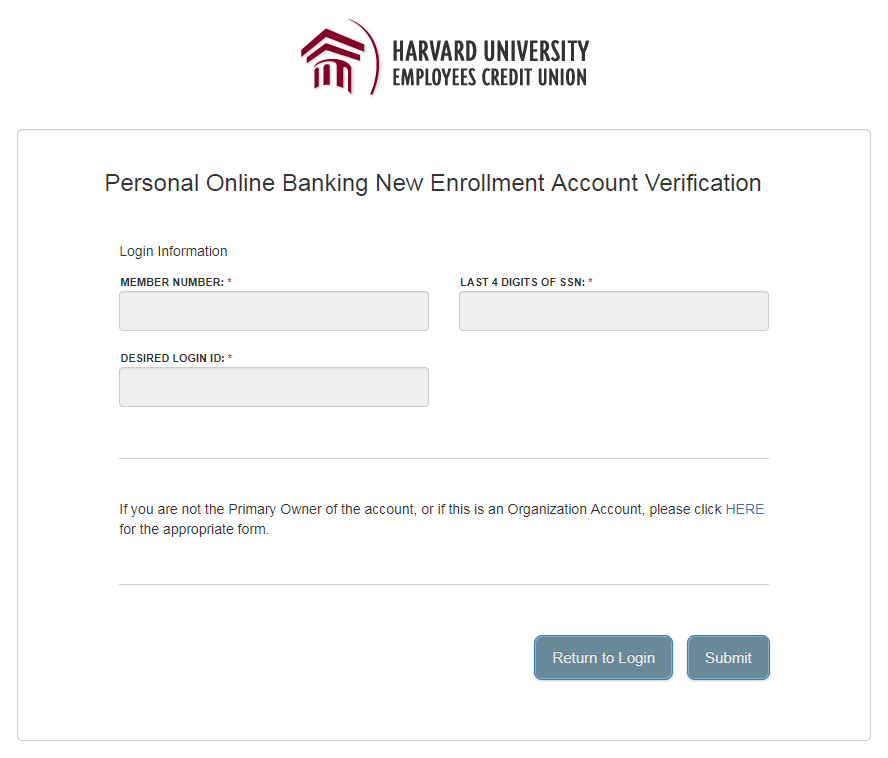 Personal Online Banking New Enrollment Account Verification