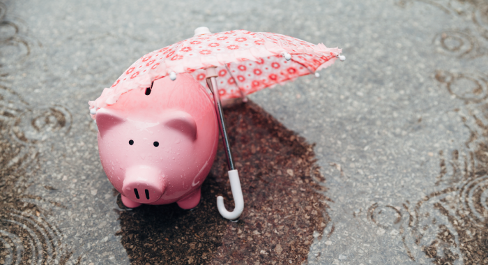 piggy bank with an umbrella under the rain