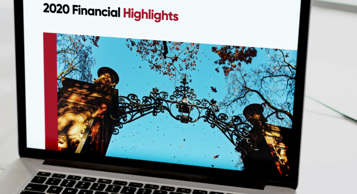 "laptop screen showing text that reads ""2020 Financial Highlights"""