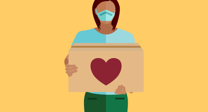 graphic of woman with a cardboard box