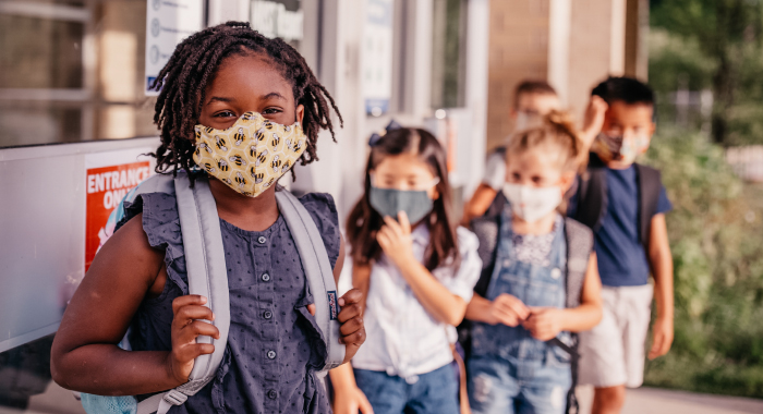kids at school wearing masks