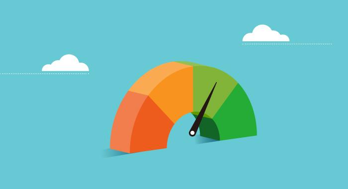 graphic of credit score meter