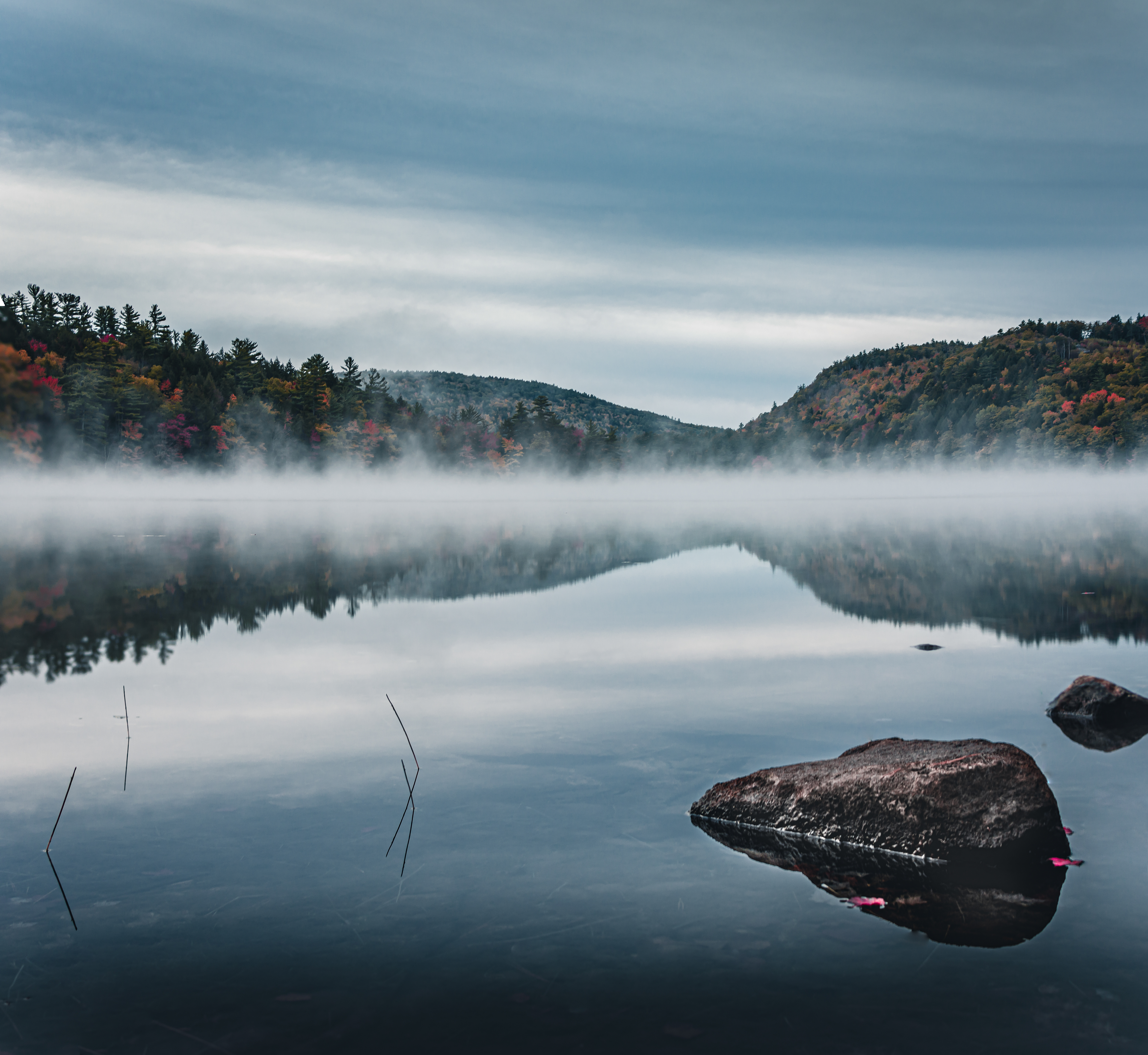 Mist on the water in Maine