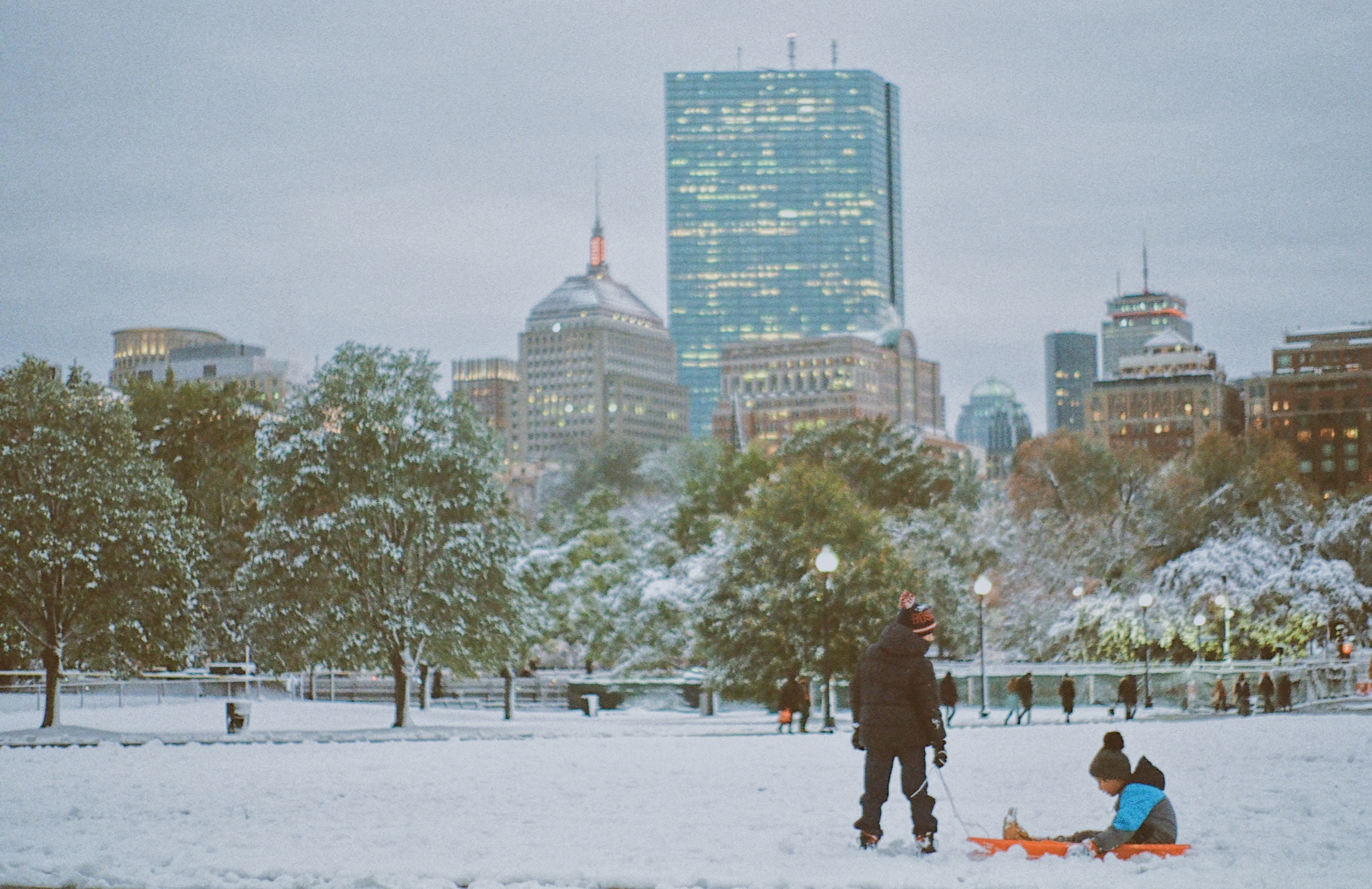 Kids playing in the snow in Boston