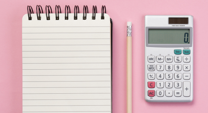 Notepad, pencil, and calculator