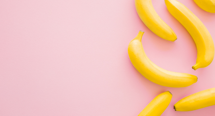 Bananas on a pink background