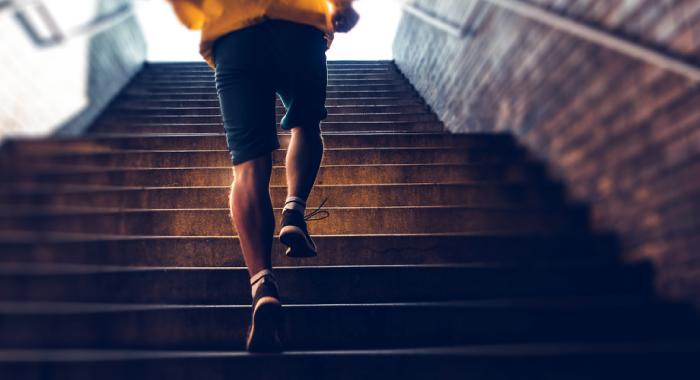 Person climbing steps