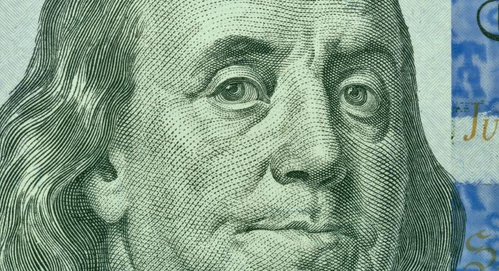 Close up of Benjamin Franklin bill